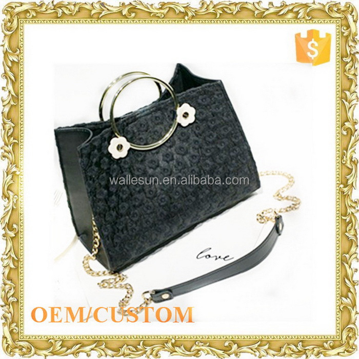Custom design pu bag with chain strap cow leather bag leather thigh bag