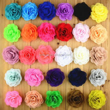 "28 Colors 3"" Chiffon Fabric Flower Hair Clips Rolled Rose Hairpins Girls Hair Accessories"