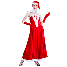 Factory direct sale luxury adult women Christmas Miss Santa sexy dress party costumes