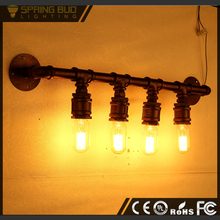 Home decoration antique rustic style rust color waterpipe shaped DEEVIKA BARE BULB WALL LIGHT vintage bathroom light