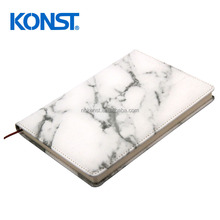 2018 New style design Personalized luxury marble subject l notebook marble hard cover leather customized journal Planner
