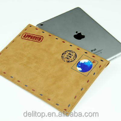 New Envelope Postcard Design PU Leather Pouch Case for Apple Ipad mini