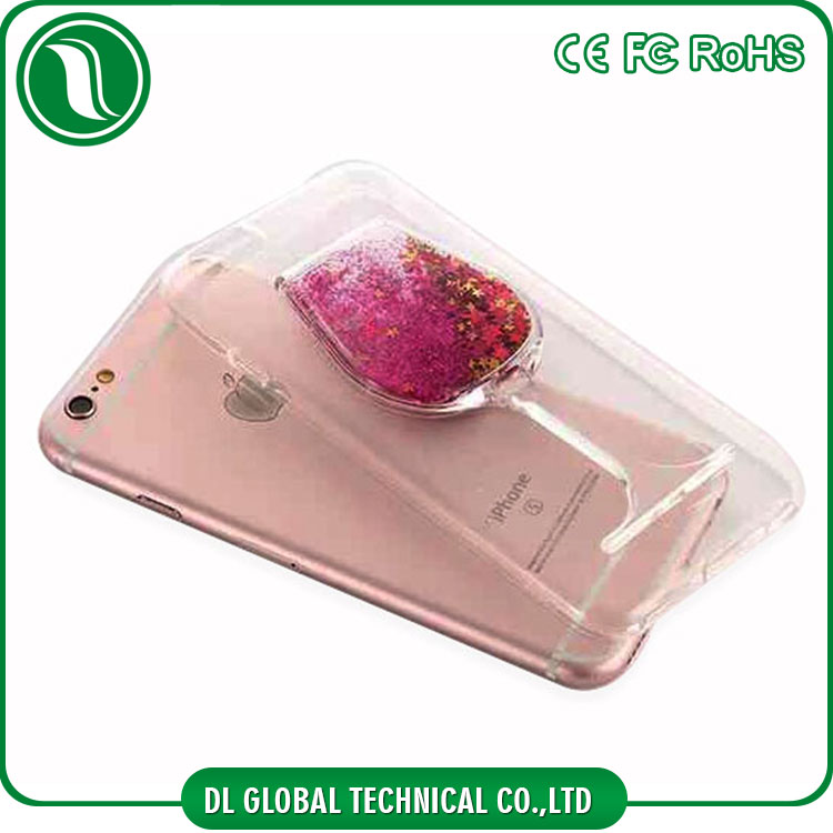Innovative colorful quick sand filler glitter phone case soft TPU wine glass back cover with hidden holder phone case