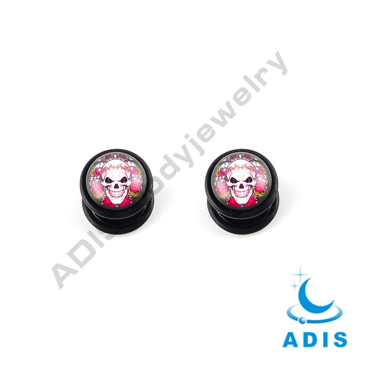 Stainless steel epoxy fake ear plugs with skull logo