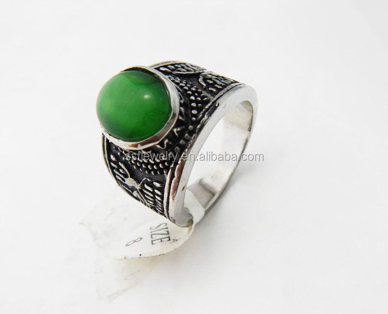 SSR0520 fashionable stainless steel green stone ring wholesale