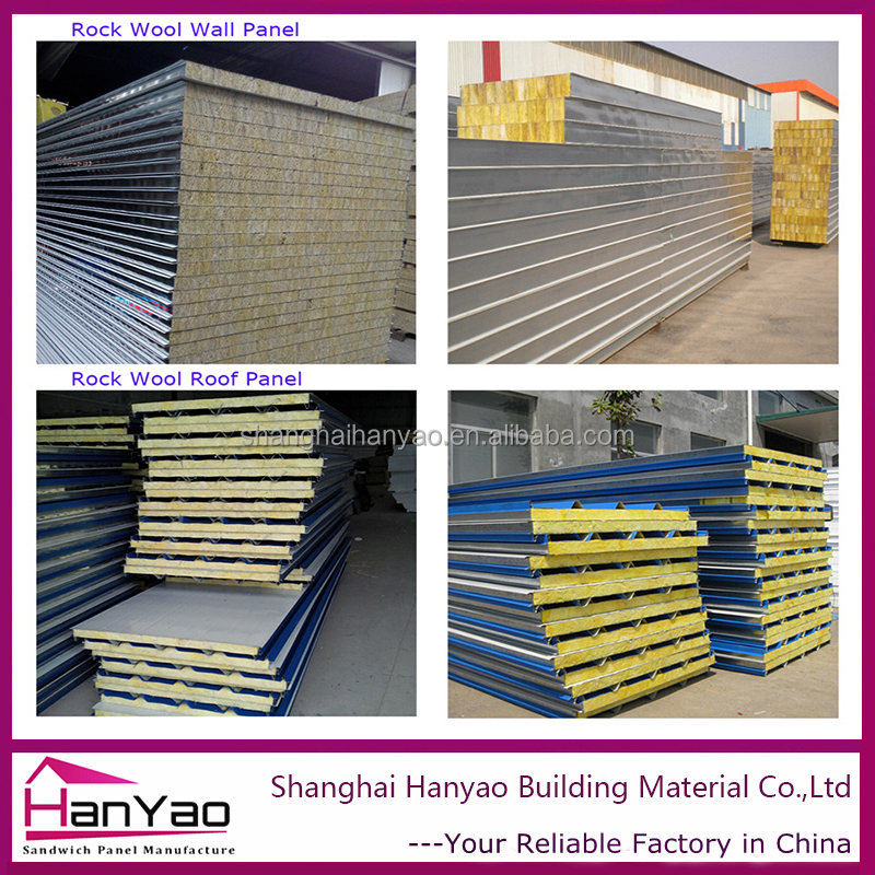 Hot Sale China Fireproof Insulation Board Rockwool Sandwich Panel for Wall and Roof