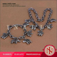 2014 handmade elephant chain antique silver jewelry set S023