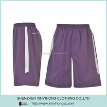 Purple color dry fit 100%polyester gym shorts with Zipperfor basketball shorts/shorts football