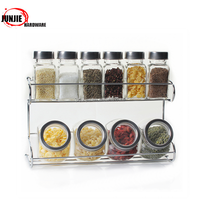 Wall Mounted Kitchen Spice Rack with 5 pieces Utensil Pot Pan towels Hanger Hooks-0420