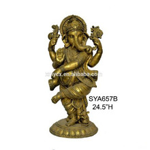 Resin Indian religious murti ganesh decoration home copper finish Ganesh
