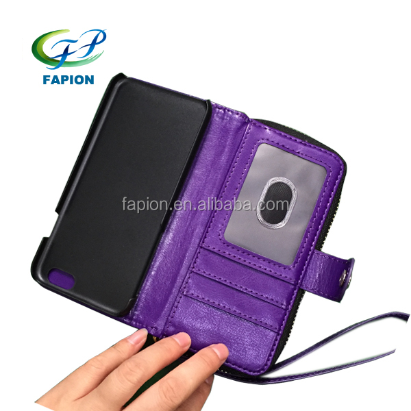 leather cell phone case pocket wallet with wrist strap