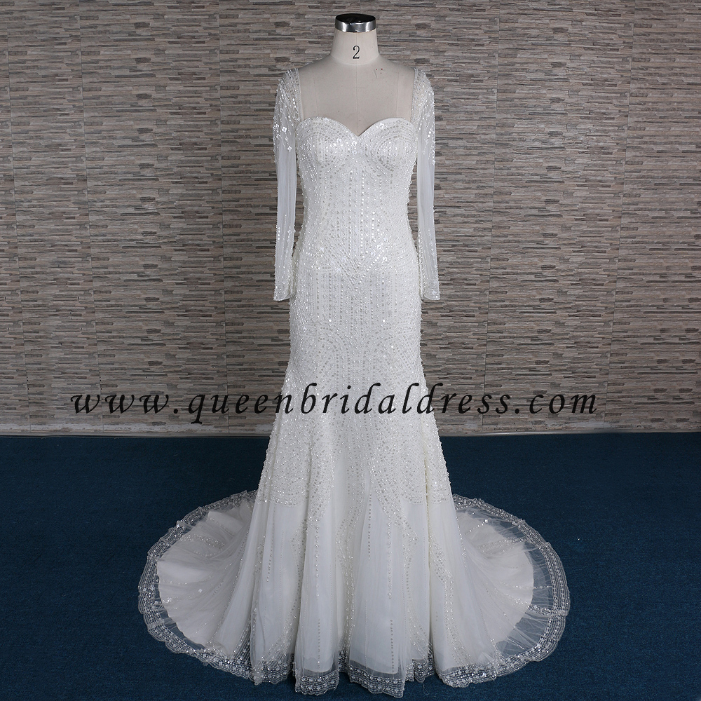 Honorable long sleeves handwork crystal beaded trumpet wedding dresses