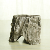 Chinese style cement tree stump planter craft big outdoor flower pots