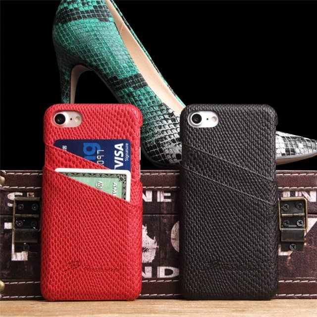 2017 New Products! Snakeskin Pattern PU+Leather Slot Card Phone Case for Iphone 7/7plus