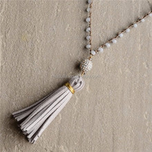 N15061209 Long Beaded Leather Tassel Necklace Boho Jewelry