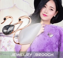 Simple Korean Style Brooches Jewelry Clothes Pins Parent-child Opal Stone Swan Brooch Clip Clasp For Lady