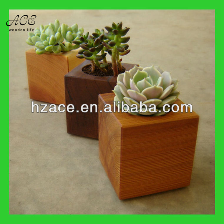 Small wooden plant pot Small wooden planter Succulent planter