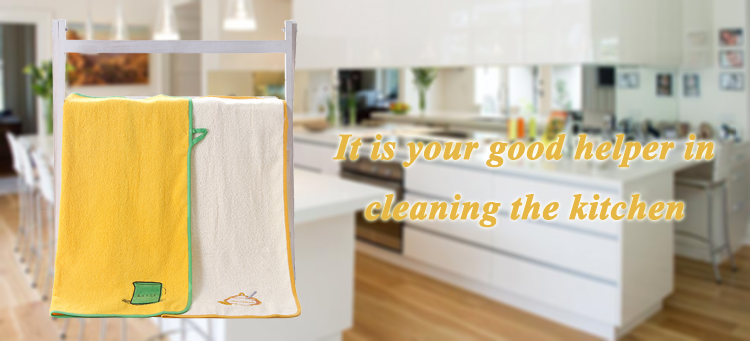 Wholesale stock 100% cotton embroidery kitchen towel set with pack