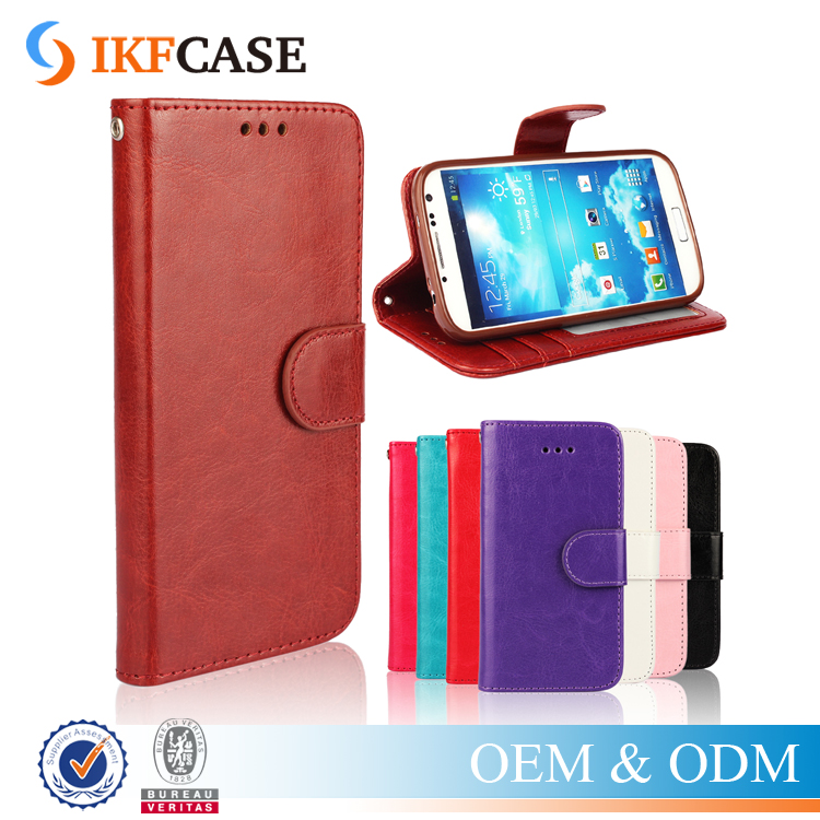 For Samsung Galaxy S4 i9500 crazy horse pu case,folio leather phone case with id holder