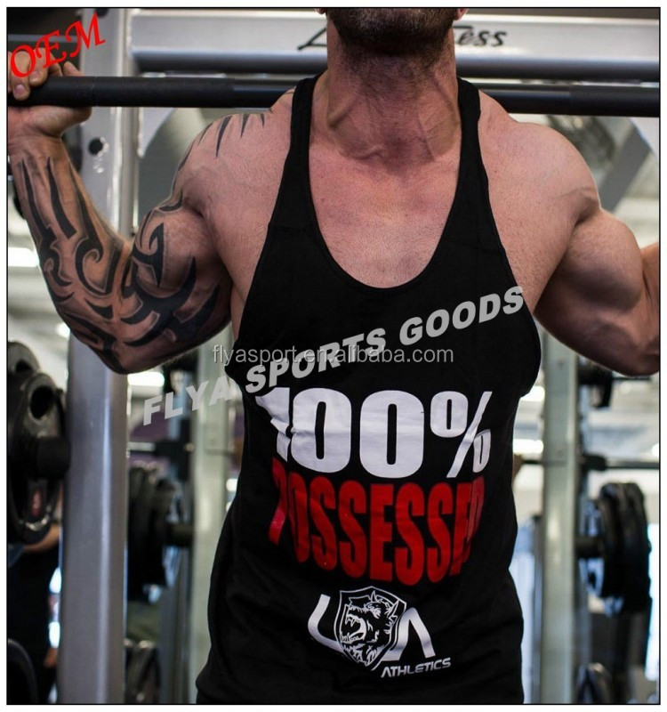 Premium Quality Cotton custom Black Bodybuilding Stringer Singlet Tank Top Gym Vest