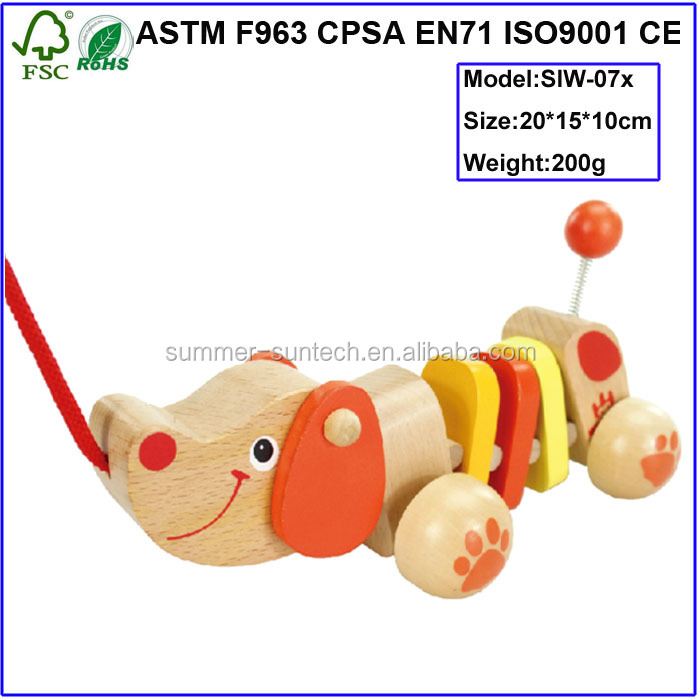 Most popular children toys new 2016 style Wooden Pull toddler toy dog