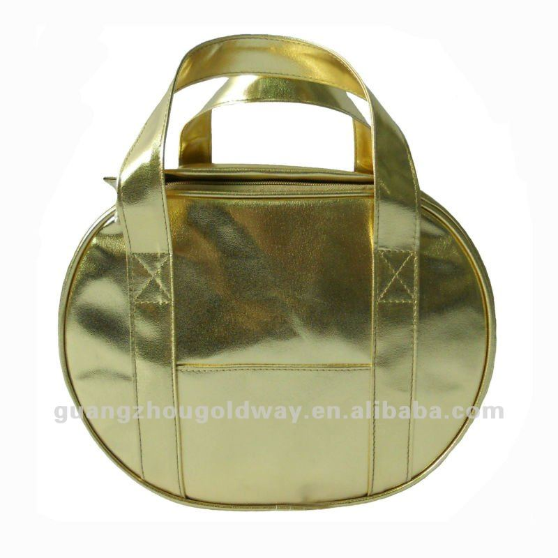 Promotion golden colored pu leather cooler thermal bag cosmetic bag make up bag beauty holder