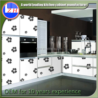 High gloss acrylic/MDF kitchen vinyl wrap doors cabinets