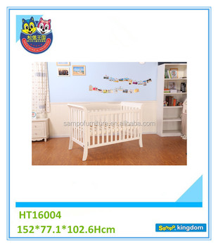 2017 hot selling baby wooden convertible crib with white color