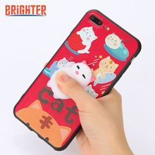 Squishy 3D Lovely Animal Cat Seal Soft Case Cover Squishy Phone Case For iPhone 5/5S/SE/6/7P