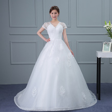 ZH2019G Charming V Neck Lace A Line Wedding Dresses with Short Sleeves Sheer Back Long Court Train Bridal Gown