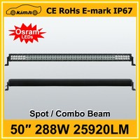 10-30V DC Voltage Curved LED Light Bar 50 inch 288W 4x4 Crees Led Car Light 288W Curved Led Light bar