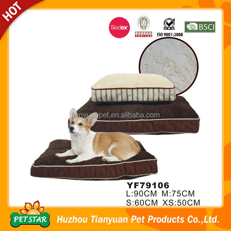 Discount High Quality Popular Luxury Strip Soft Plush Square Shape Thick Non Slip Pet Dog Bed