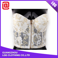 Popular handmade lace front zipper transparent sexy bra costumes