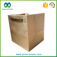 Cheap kraft paper wine bottle take away carrier paper bag printing wholesale