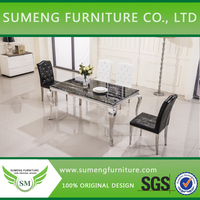 Korean stainless leg dining table and 4 chairs
