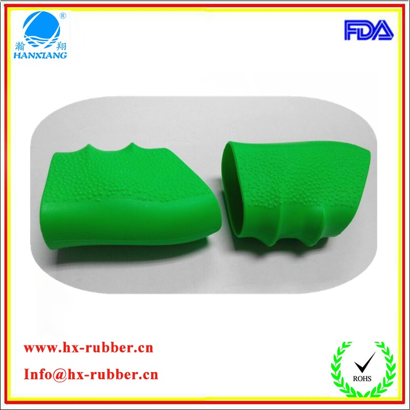 Professional customized molded green silicone handle grip shockproof/non-slip silicone grip