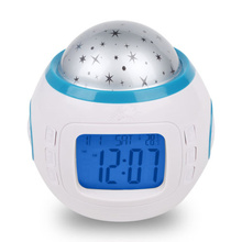 Starry Sky Night Light Projection Music Digital Alarm Clock Thermometer Calendar