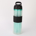 Tumbler silicon sport drink plastic cup with lid and straw