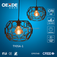 New arrival round ball shape living room lighting wrought iron pendant light black chandelier vintage candeliers pendant light