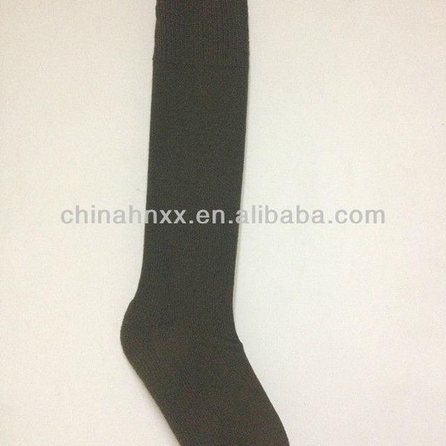military olive green 100% acrylic plain knit commando socks stockings
