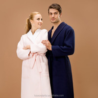 navy blue double layer waffle bathrobe new evening dress for men