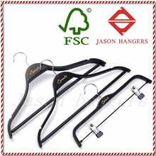 LF047JS fashional custom high quality branded black plywood garment clothes hanger