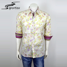 Hot sale long sleeve custom colorful men casual fashion printed shirt