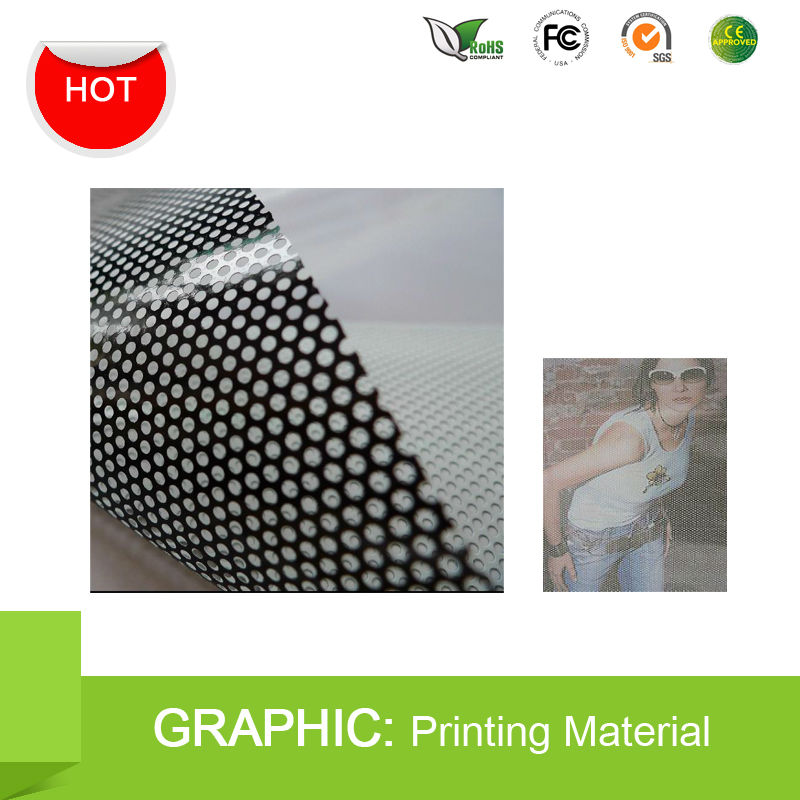 Perforated 160um Self adhesive One Way Vision Vinyl Window Film