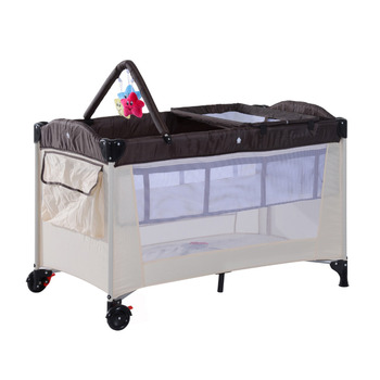 Portable Baby Travel Cot W/Change Rack Bassinet-Coffee