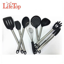 Premium Silicone Kitchenware 8 Piece Stainless Steel Kitchen Utensil Set