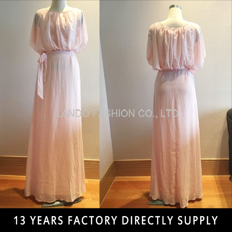 Garments Stock Lot Sale Lades' Long Peach Chiffon Dress