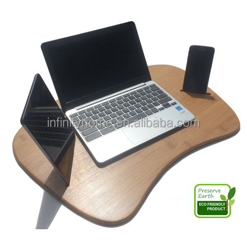 Jumboo large contour bamboo laptop computer lap desk with pillow