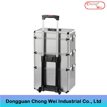 Aluminum Material and Makeup case/bag/box/trolley,Case Type trolley cosmetic case with wheels