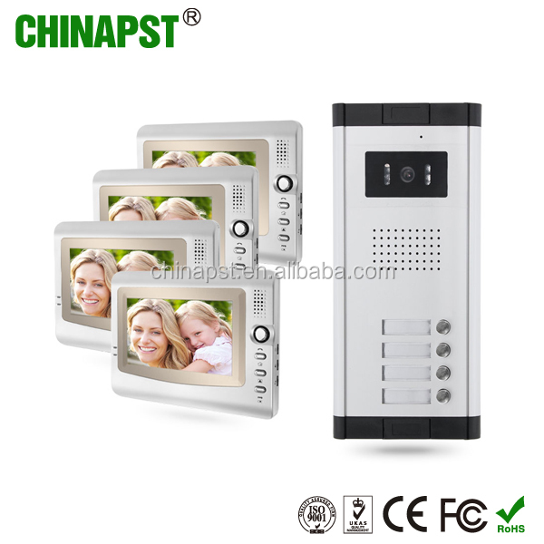High Quality Apartment Doorbell Intercom 4 Indoor Monitors with PST-VDO1-4K